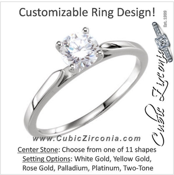 Cubic Zirconia Engagement Ring- The Taylor (Customizable Thin-Band Solitaire)