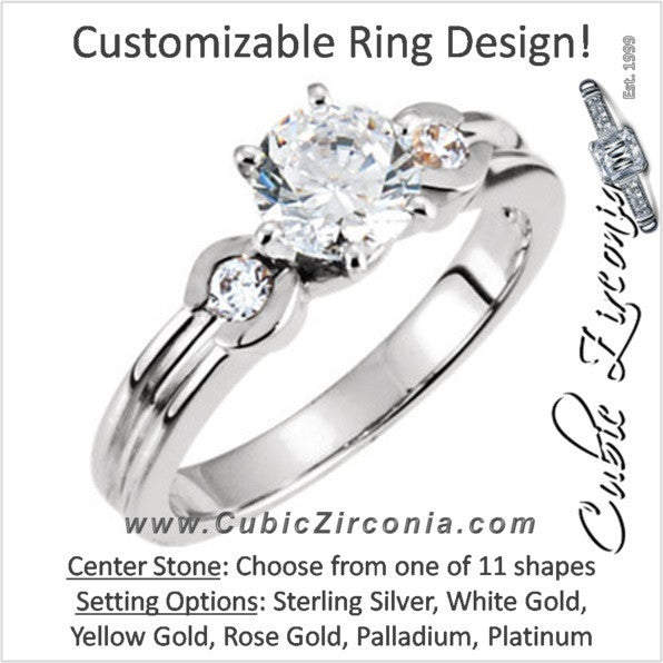 Cubic Zirconia Engagement Ring- The Karla (Customizable 3-stone with Bezel Band Accents)