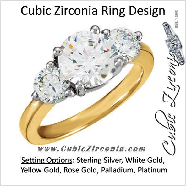 Cubic Zirconia Engagement Ring- The Charity (3-Stone Round)