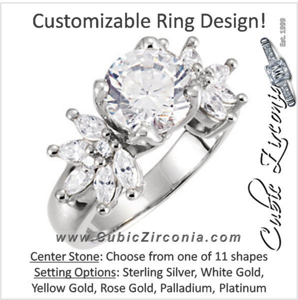 Cubic Zirconia Engagement Ring- The Margarita (Customizable Center with Dual Marquise 5-stone Clusters)
