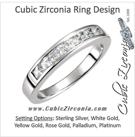 Cubic Zirconia Anniversary Ring Band, Style 12-658 (0.80 TCW Princess Channel)