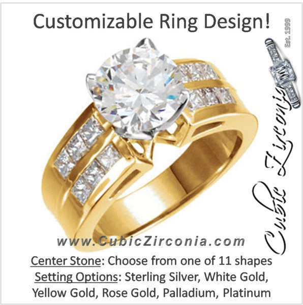 Cubic Zirconia Engagement Ring- The Talia (Customizable with Double Row Princess Channel)