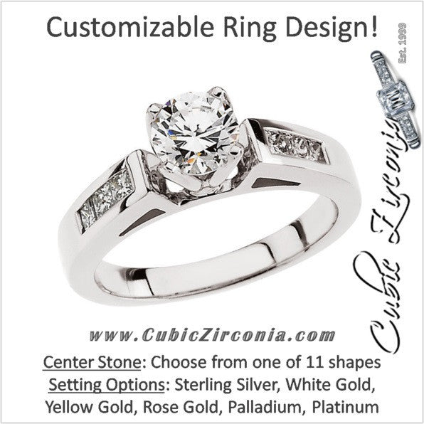 Cubic Zirconia Engagement Ring- The Audra (Customizable 7-stone Princess Channel)
