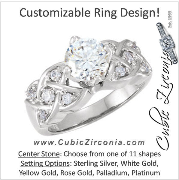 Cubic Zirconia Engagement Ring- The Shaquandra (Customizable 11-stone with Interlocking Metal and Round Accented Band)