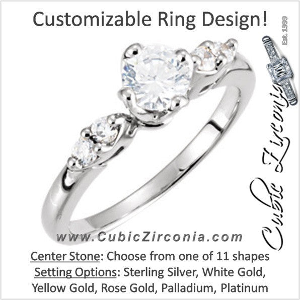 Cubic Zirconia Engagement Ring- The Grace (Customizable 5-stone with Petite Band)