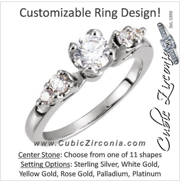 Cubic Zirconia Engagement Ring- The Roxanne (Customizable 5-stone)