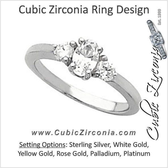 Cubic Zirconia Engagement Ring- The Kelly Eva (Three-stone Oval Cut)