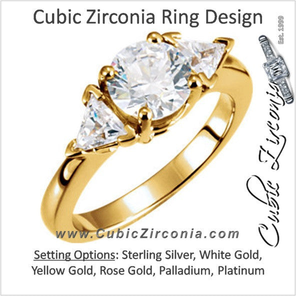 Cubic Zirconia Engagement Ring- The Ciera (3-stone Round Cut with Triangle Accents)