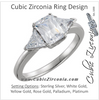 Cubic Zirconia Engagement Ring- The Faye (3-stone Emerald Cut Style with Twin Triangle Cut Accents)