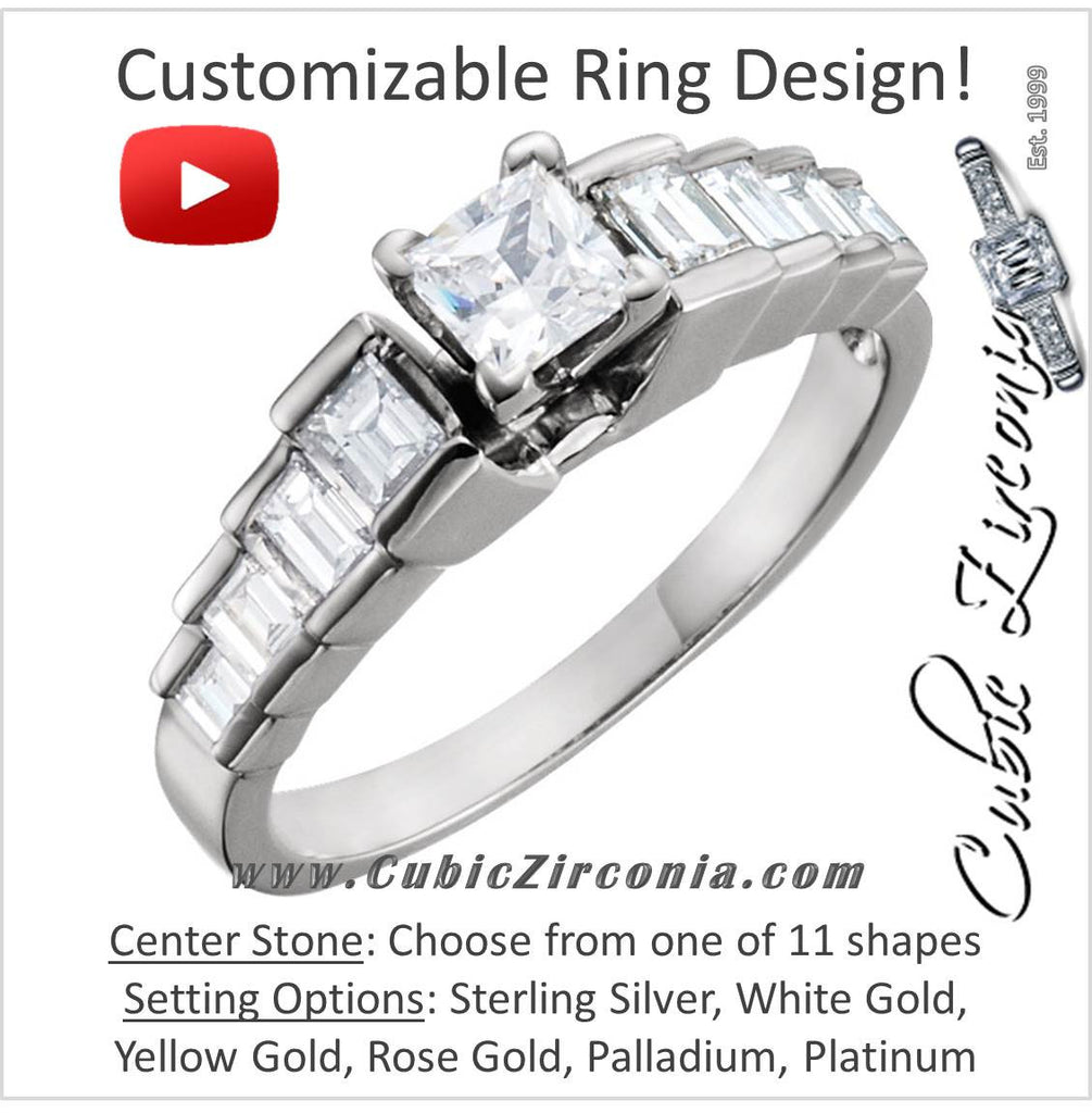 "Cubic Zirconia Engagement Ring- The Melanie (Customizable Setting with 8-Stone ""Stairs"" Baguette Channel)"