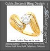 Cubic Zirconia Engagement Ring- The Jessica (0.5 CT Waves-Inspired Round Channel)