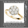 Cubic Zirconia Engagement Ring- The Tasha  (1.05 TCW 7-Stone Cluster-Style Two-Tone Option)