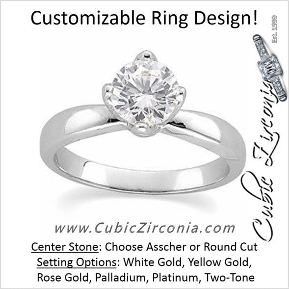 Cz Engagement Ring The Lashay Tulipset Solitaire Cubic Zirconia Cz