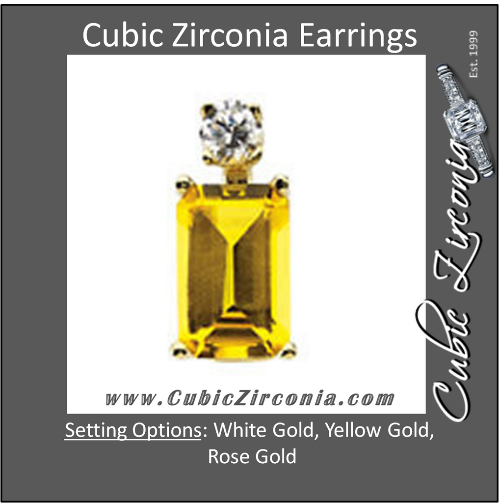 Cubic Zirconia Earrings- Emerald Lightweight Wire Basket