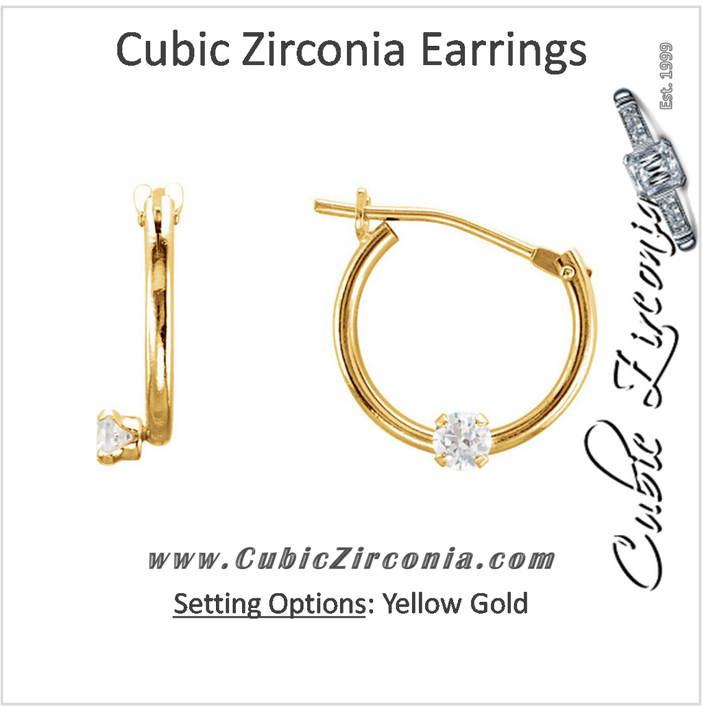 Cubic Zirconia Earrings- 0.06 Carat Solitaire Hinged Hoop Youth Earring Set