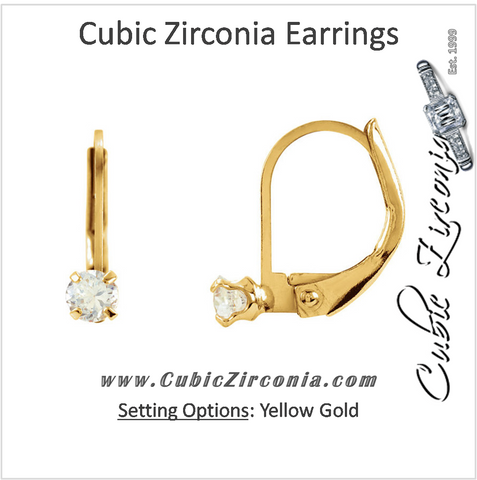 Cubic Zirconia Earrings- 0.06 Carat Lever Back Hoops Youth Earring Set in 14K Yellow Gold