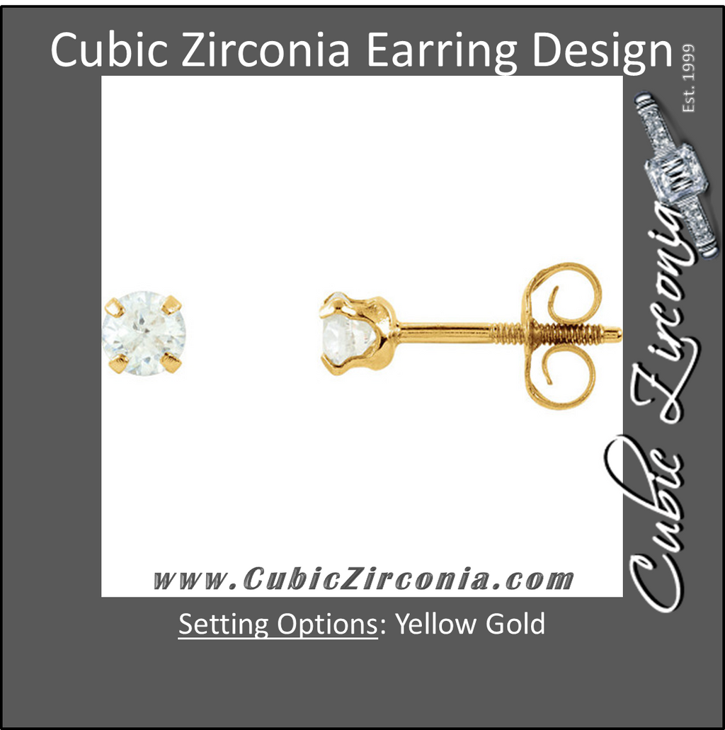 Cubic Zirconia Earrings- 0.20 Carat CZ Youth Stud Earrings in 14K Yellow Gold