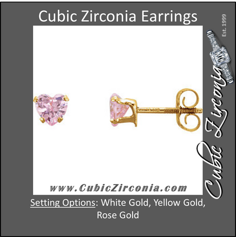 Cubic Zirconia Earrings- Amethyst Heart