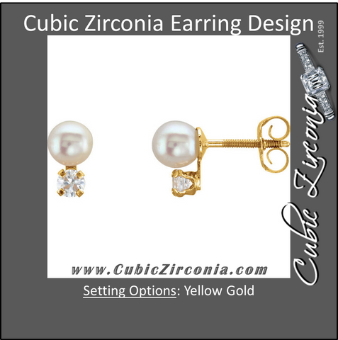 Cubic Zirconia Earrings- 0.06 Carat CZ and Freshwater Cultured Pearl Youth Earring Set