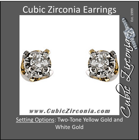 Cubic Zirconia Earrings- Two-Tone .06 Carat Two-Tone Youth Studs Earring Set