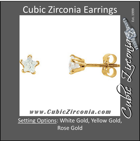 Cubic Zirconia Earrings- Star-Shaped CZ Stud Kids Earring Set