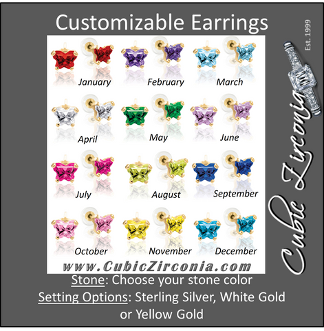 Cubic Zirconia Earrings- Customizable Butterfly Shaped CZ Birthstone Stud Earring Set