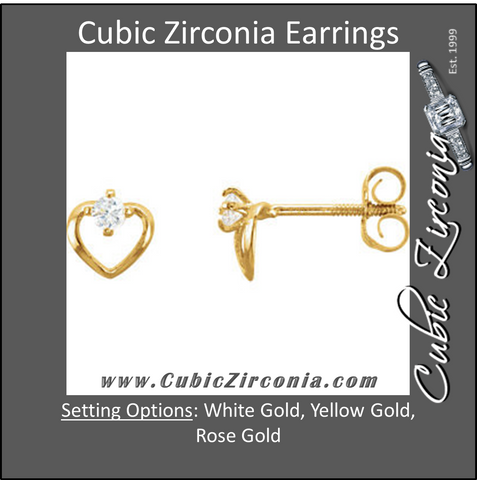 Cubic Zirconia Earrings- Heart Shaped CZ Stud Kids Earring Set