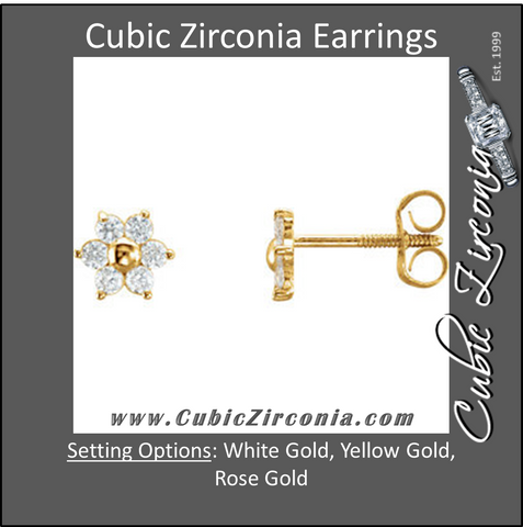 Cubic Zirconia Earrings- Cluster
