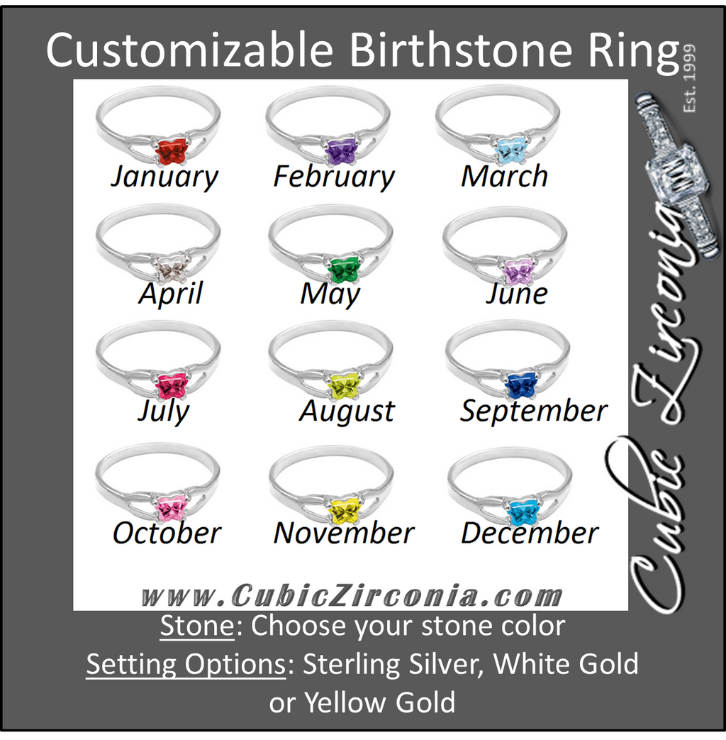 Cubic Zirconia Birthstone Ring- Customizable Butterfly Shaped CZ Birthstone Setting