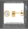 Cubic Zirconia Earrings- Customizable Round Cut Bezel Earring Set