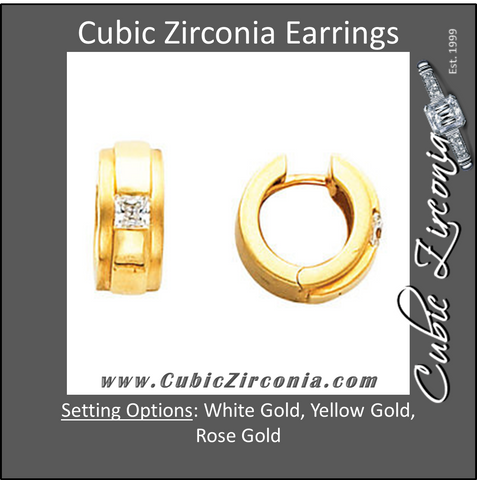 Cubic Zirconia Earrings- 13.5mm Hinged Hoop Solitaire