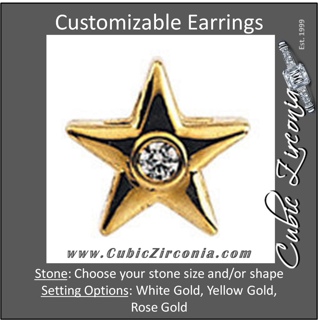 Cubic Zirconia Earrings- Star-Shaped Bezel Earring for Round Center