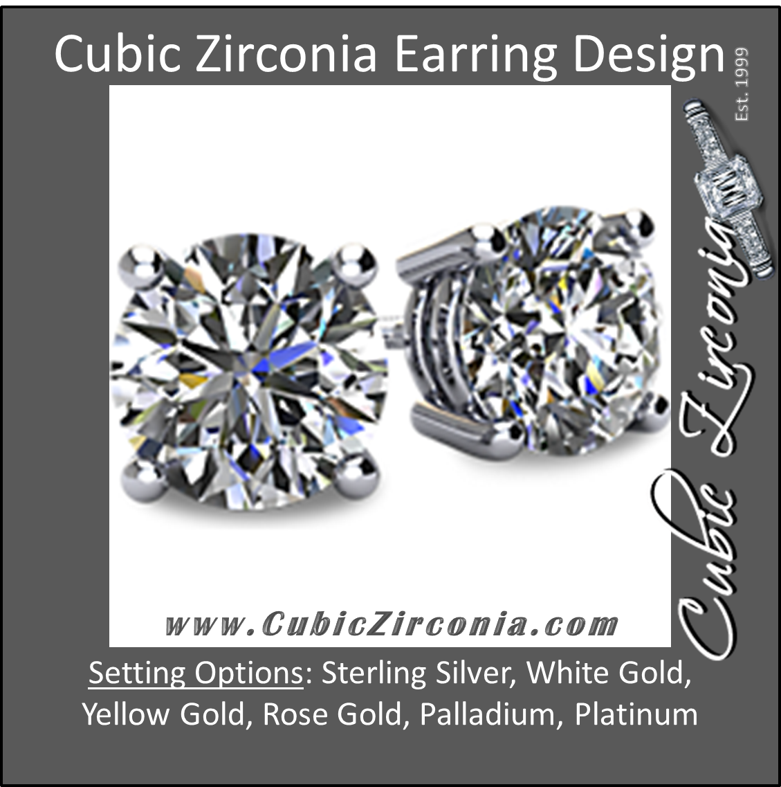 beb29af21 Cubic Zirconia Earrings- Customizable 4 Prong Round CZ Stud Earring ...