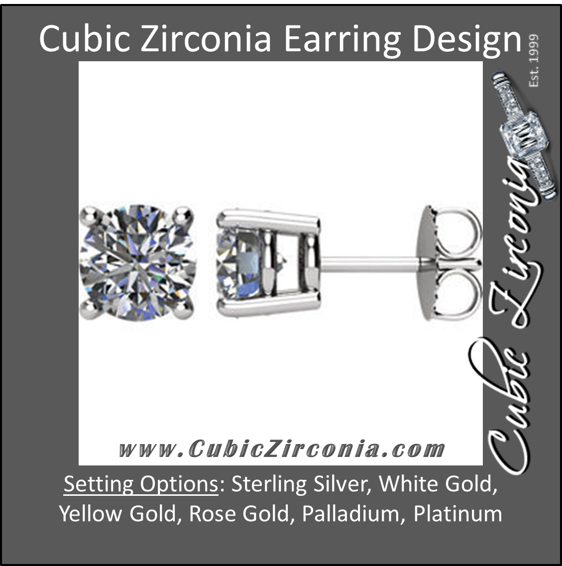cut in stud screw assented earrings cz diamond cubic back zirconia round ct