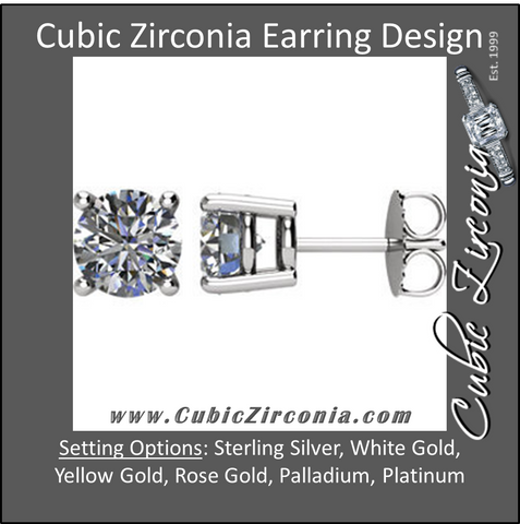 Cubic Zirconia Earrings-  Customizable 4 Prong Round CZ Stud Earring (single earring)