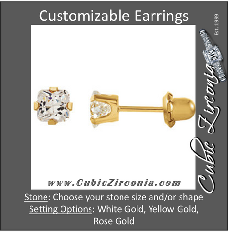 Cubic Zirconia Earrings- Customizable Princess Cut Piercing Earring Set