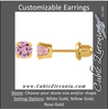 Cubic Zirconia Earrings- Customizable Pink Round Cut Piercing Earring Set