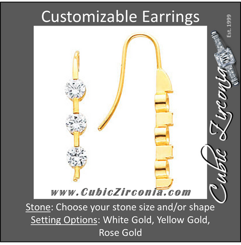 Cubic Zirconia Earrings- 3-Stone