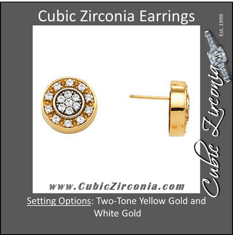 Cubic Zirconia Earrings- Two Tone Cluster