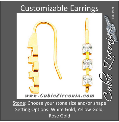 Cubic Zirconia Earrings- Customizable 3-Stone Princess Cut Dangle Earring Set