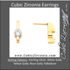 Cubic Zirconia Earrings- Customizable Round Cut Solitaire Linear Bar (short) Earring Set