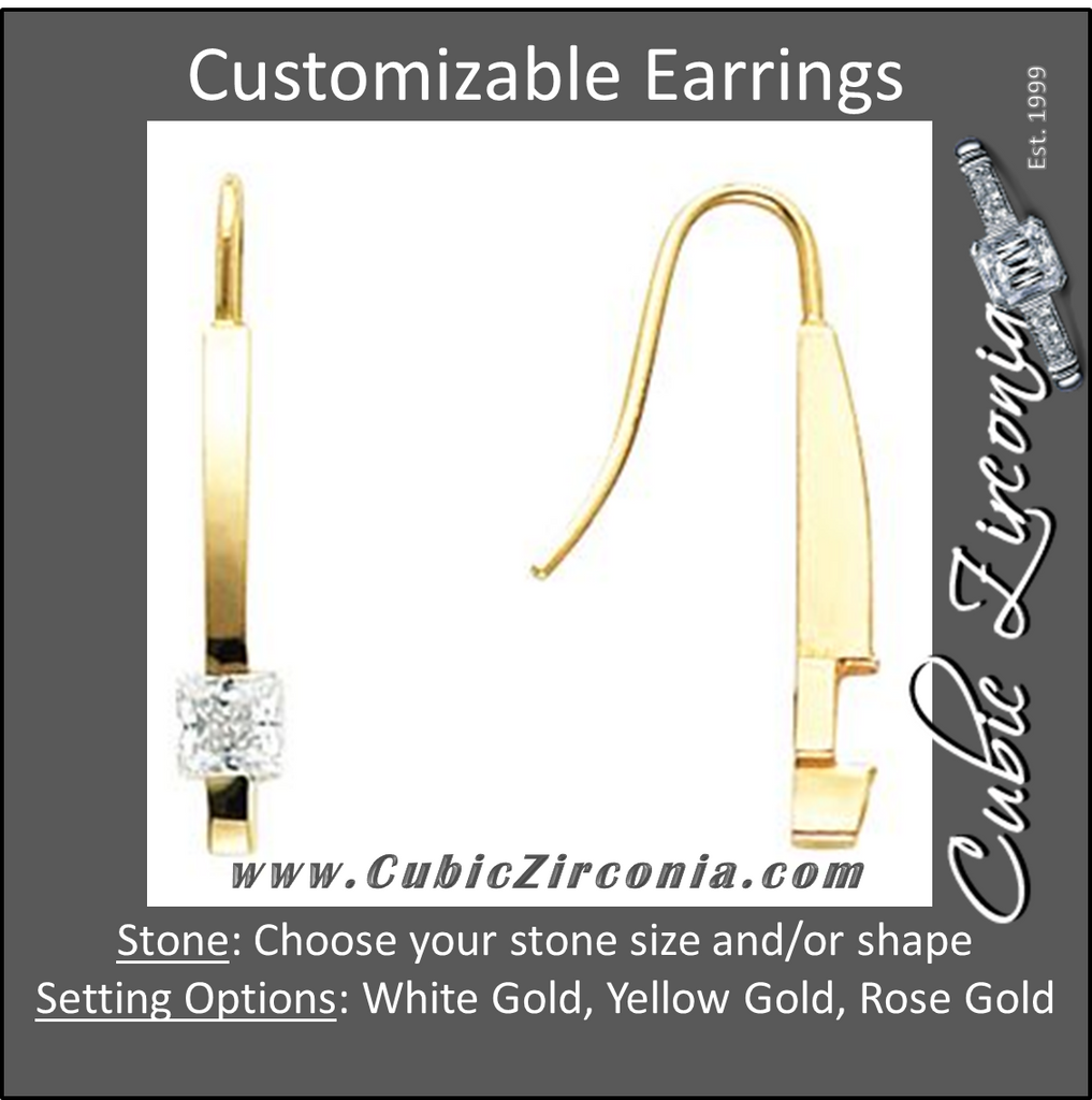 Cubic Zirconia Earrings- Customizable Princess Cut Solitaire Linear Bar (long) Earring Set