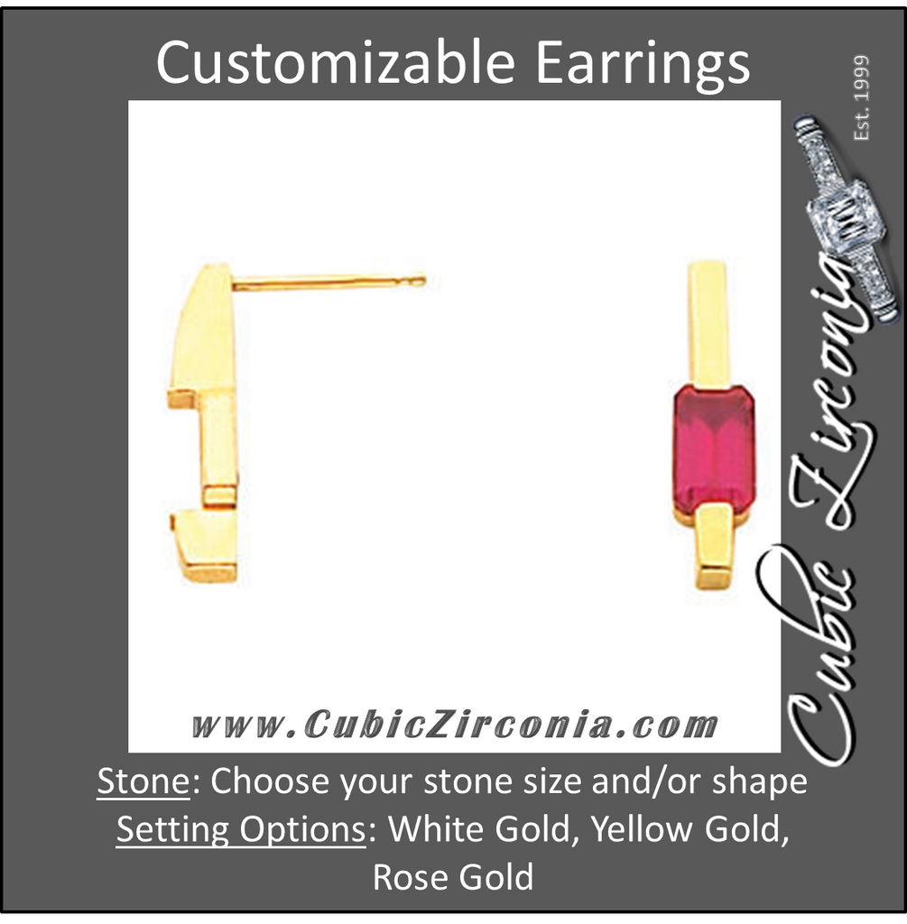 Cubic Zirconia Earrings- Emerald/Octagon Center