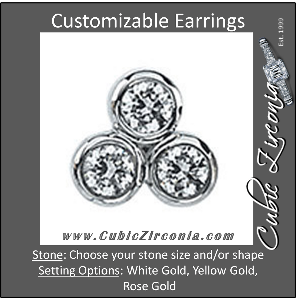 Cubic Zirconia Earrings- 3-Stone Stud