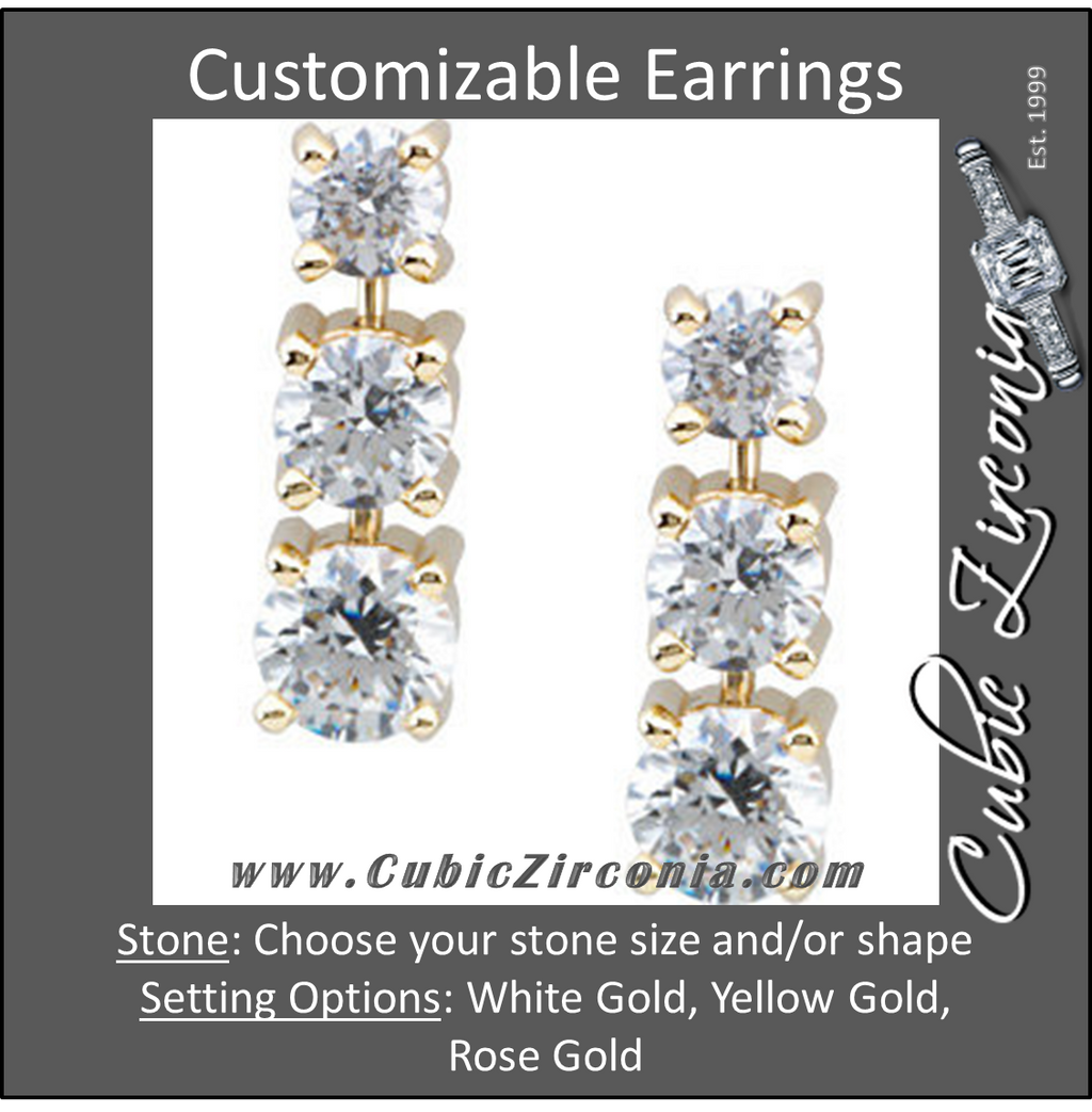 Cubic Zirconia Earrings- Customizable 3-Stone Graduated Round Cut Dangle Earring Set