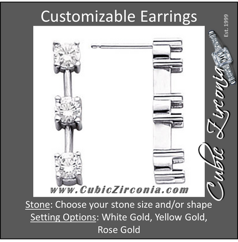Cubic Zirconia Earrings- 3-Stone Articulated