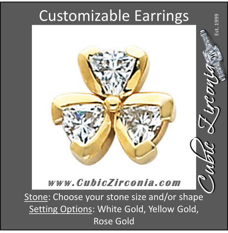 Cubic Zirconia Earrings- Customizable 3-Stone Shamrock Inspired Trillion Cut Earring Set