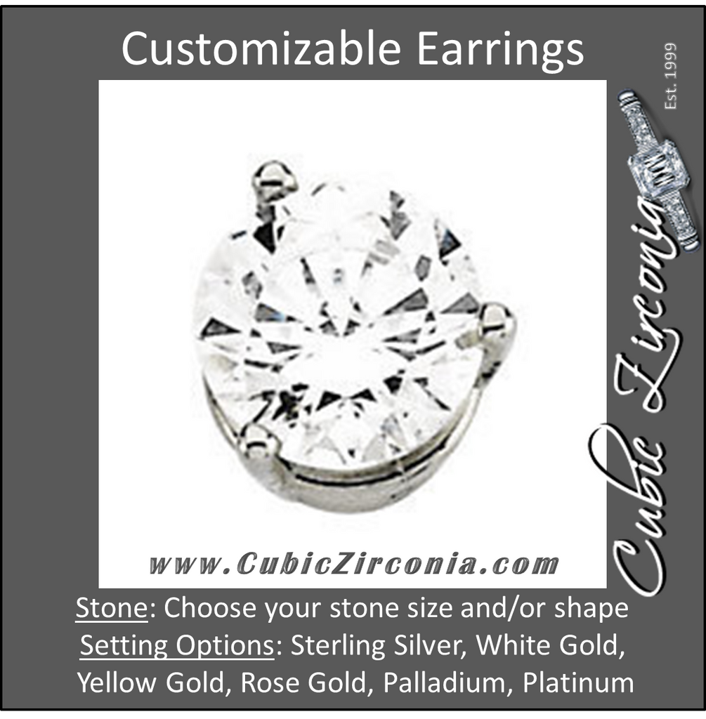 Cubic Zirconia Earrings- Round 3-Prong