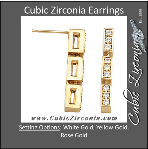 Cubic Zirconia Earrings- 0.30 Carat 3-Link Round Cut Prong Set Earring Set