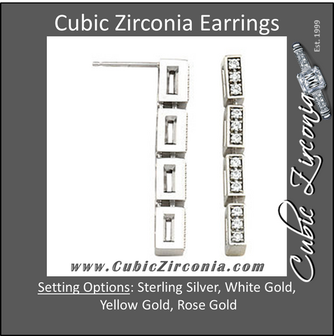Cubic Zirconia Earrings- 0.40 Carat 4-Link Round Cut Prong Earring Set